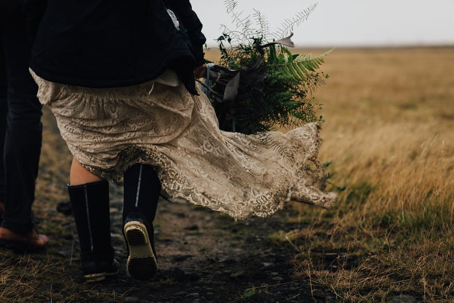 Icelandic adventure weddings may leave your wedding dress a little dirty!