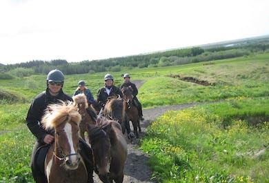 Midnight Sun Horse Riding Tour through Red Lava Landscapes