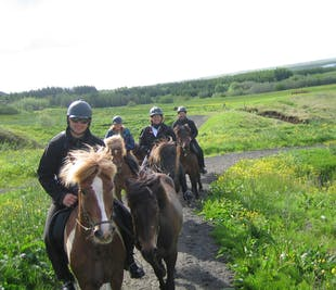 Midnight Sun Horse Riding Tour through Red Lava Landscapes