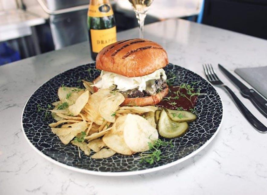 Kröstí burger at Hlemmur Mathöll Food Hall