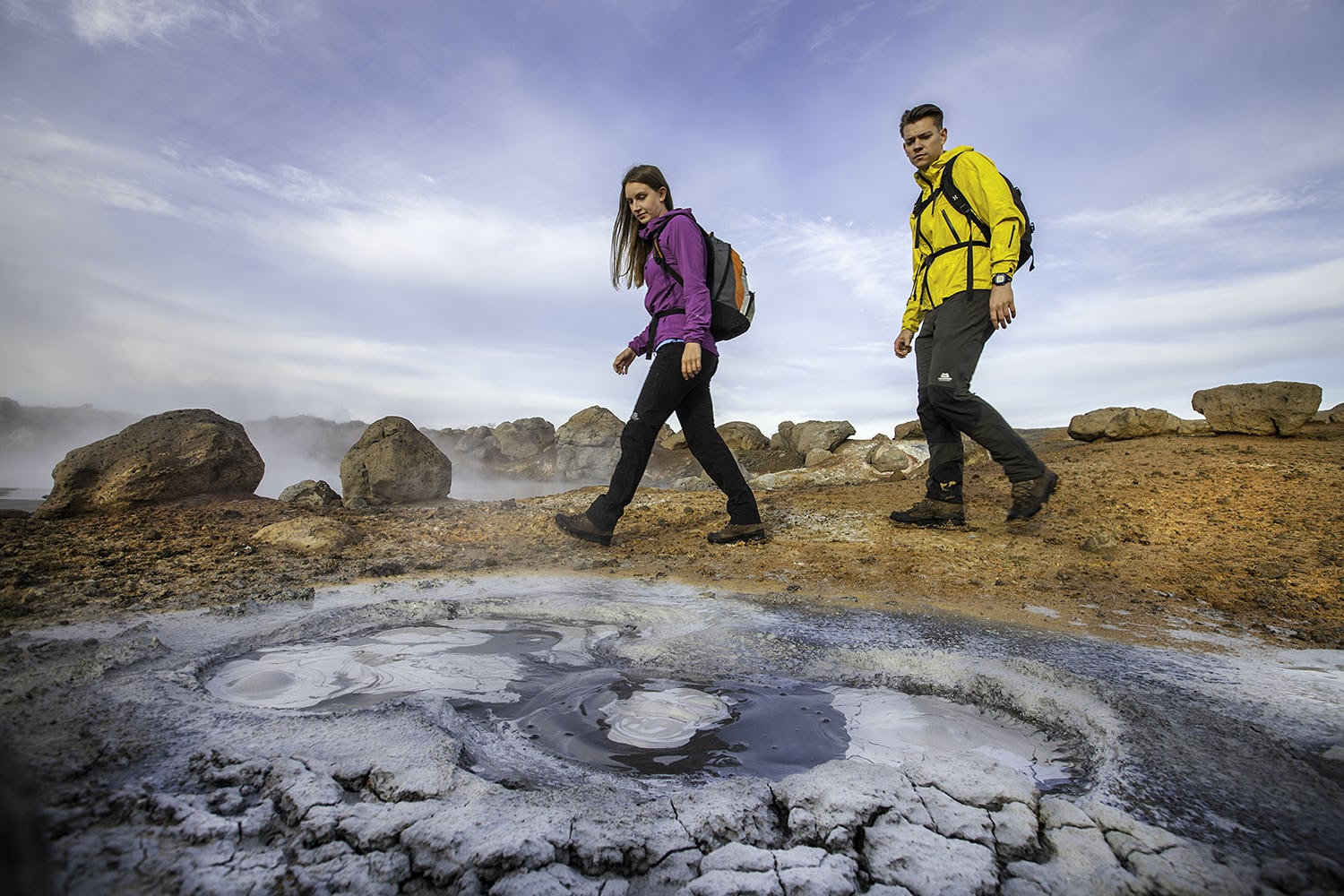 Smell the sulphur as you hike through geothermal Reykjadalur valley in South Iceland.