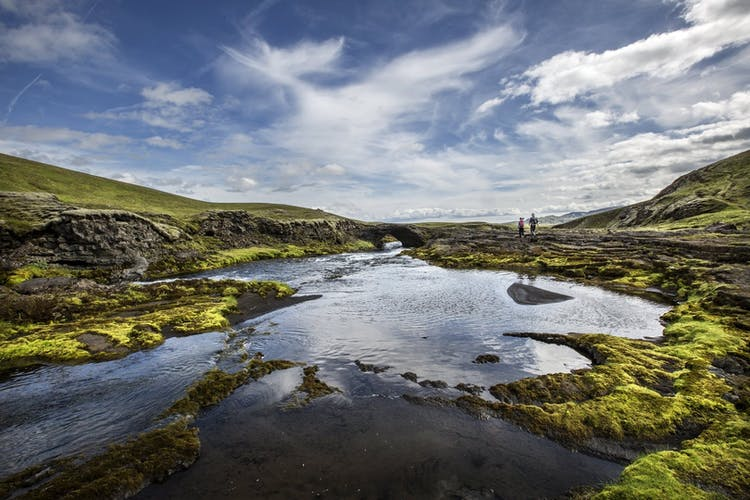 Fields of lava in the Highlands of Iceland are dotted with beautiful mountain lakes.