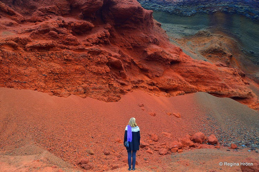 Bright-red Seyðishólar craters quarry in South-Iceland