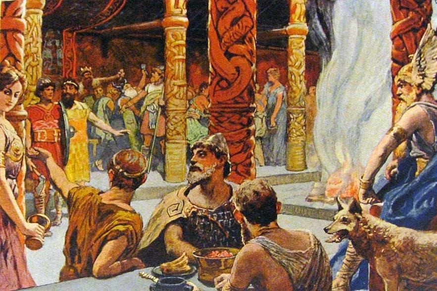 Die Hallen von Walhalla, gefunden in Asgard, einer der neun Welten der nordischen Mythologie.