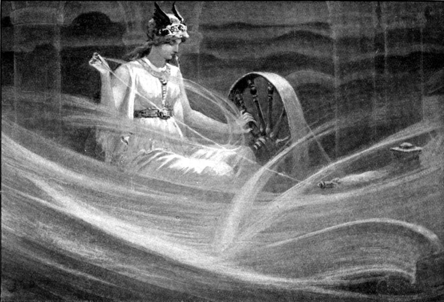 Frigg ist hier als Wolken spinnend zu sehen, denn sie war auch als Göttin der Künste bekannt.