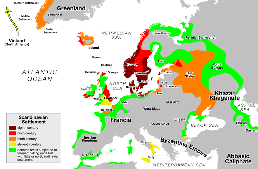 A map detailing Viking expansion throughout the centuries.