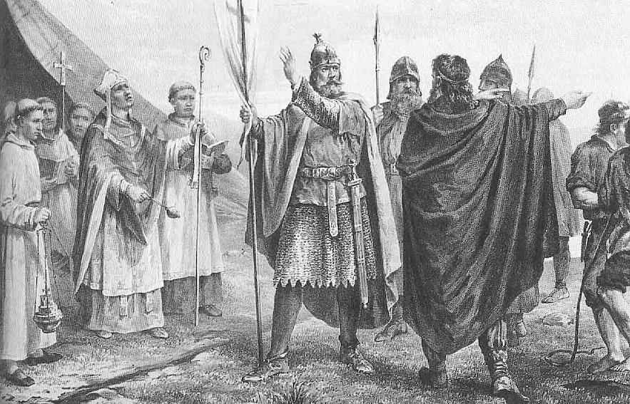Olaf Tryggvasons Übertritt zum Christentum, während in Island ein religiöser Bürgerkrieg drohte.