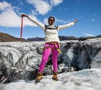 You'll venture far upon the ice cap on this glacier hiking tour of Sólheimajökull glacier