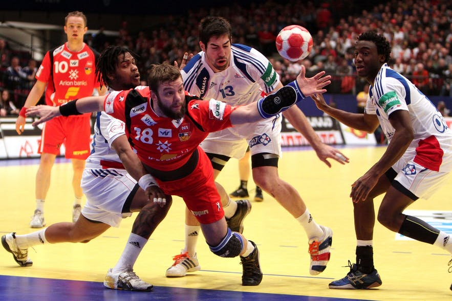 The Icelandic handball team playing France in 2010.