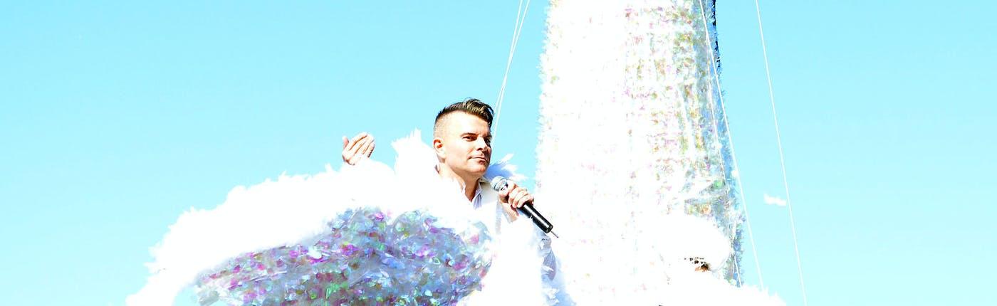 Páll Óskar on his 2015 Pride float.