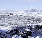 Admire the stunning winter-clad landscapes of Lake Mývatn.