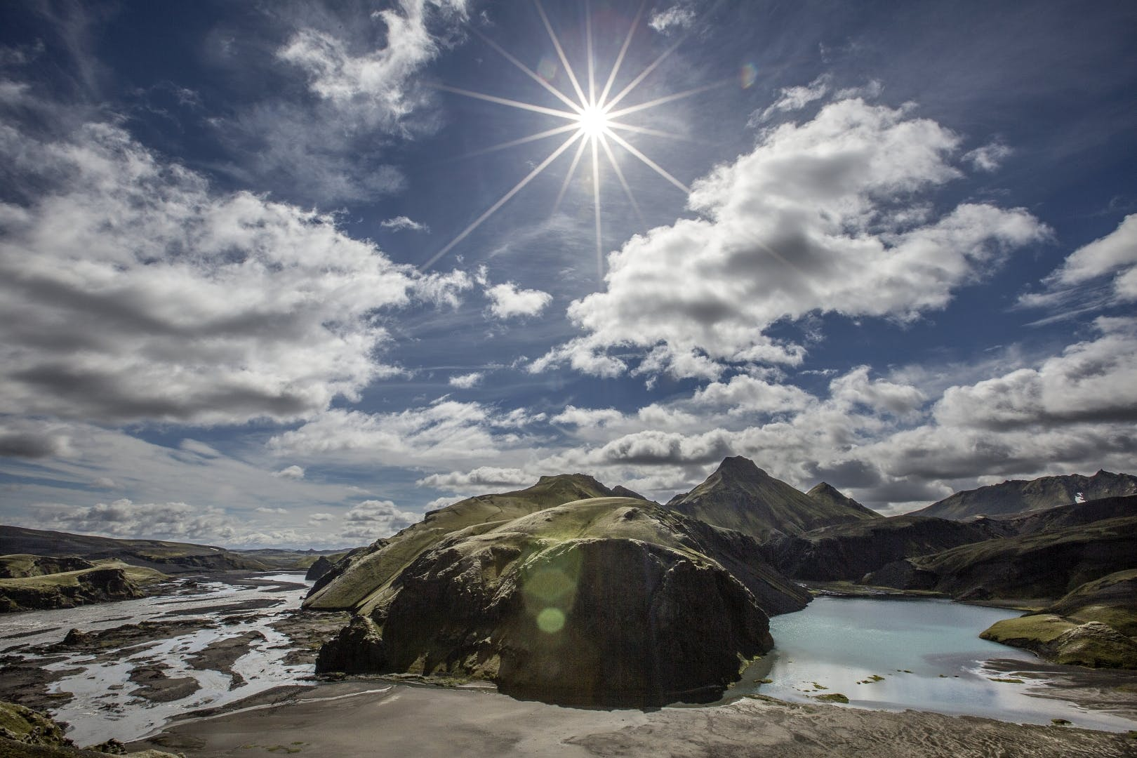 The incredibly diverse landscapes of the central Icelandic Highlands include lakes, mountains, rivers and sand plains.