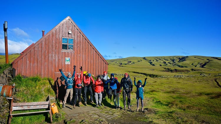 Renovated mountain huts provide shelter and accommodation for hikers trekking through the Highlands of Iceland.