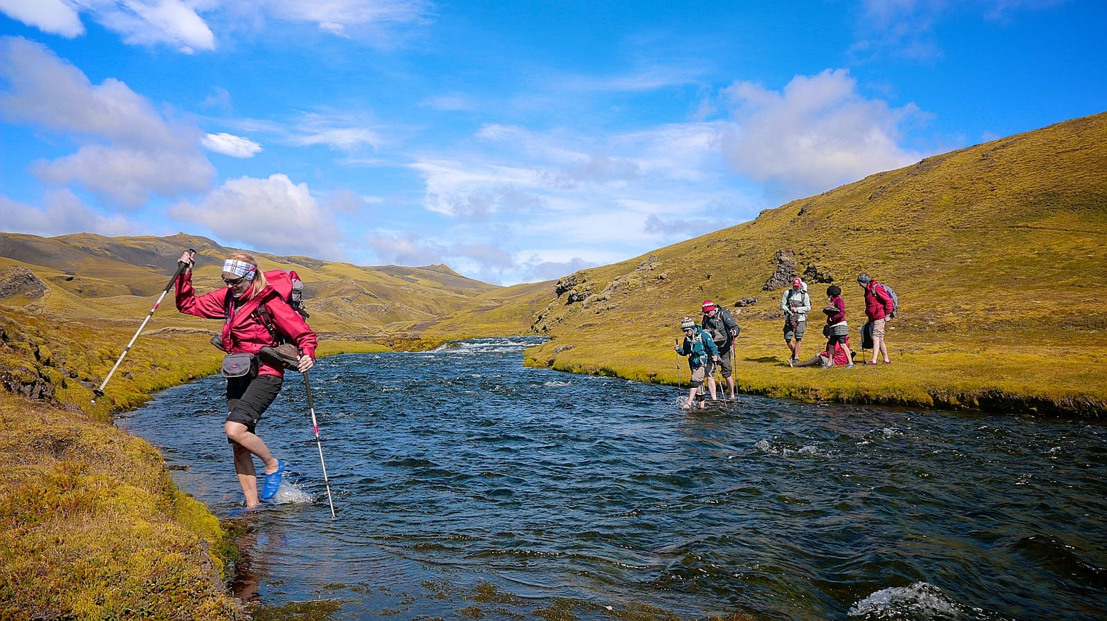 Wading rivers is an essential experience for hikers trekking through the Highlands of Iceland.