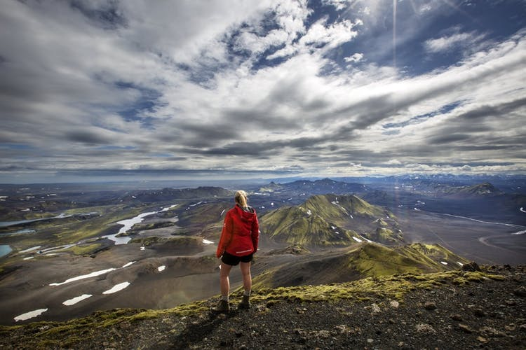 Standing on top of the world, looking over the incredible unspoilt terrain that is the Highlands of Iceland.
