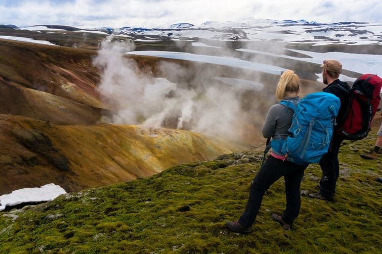 Mystic steam rising in the geothermal Landmannalaugar region in the Highlands of Iceland.