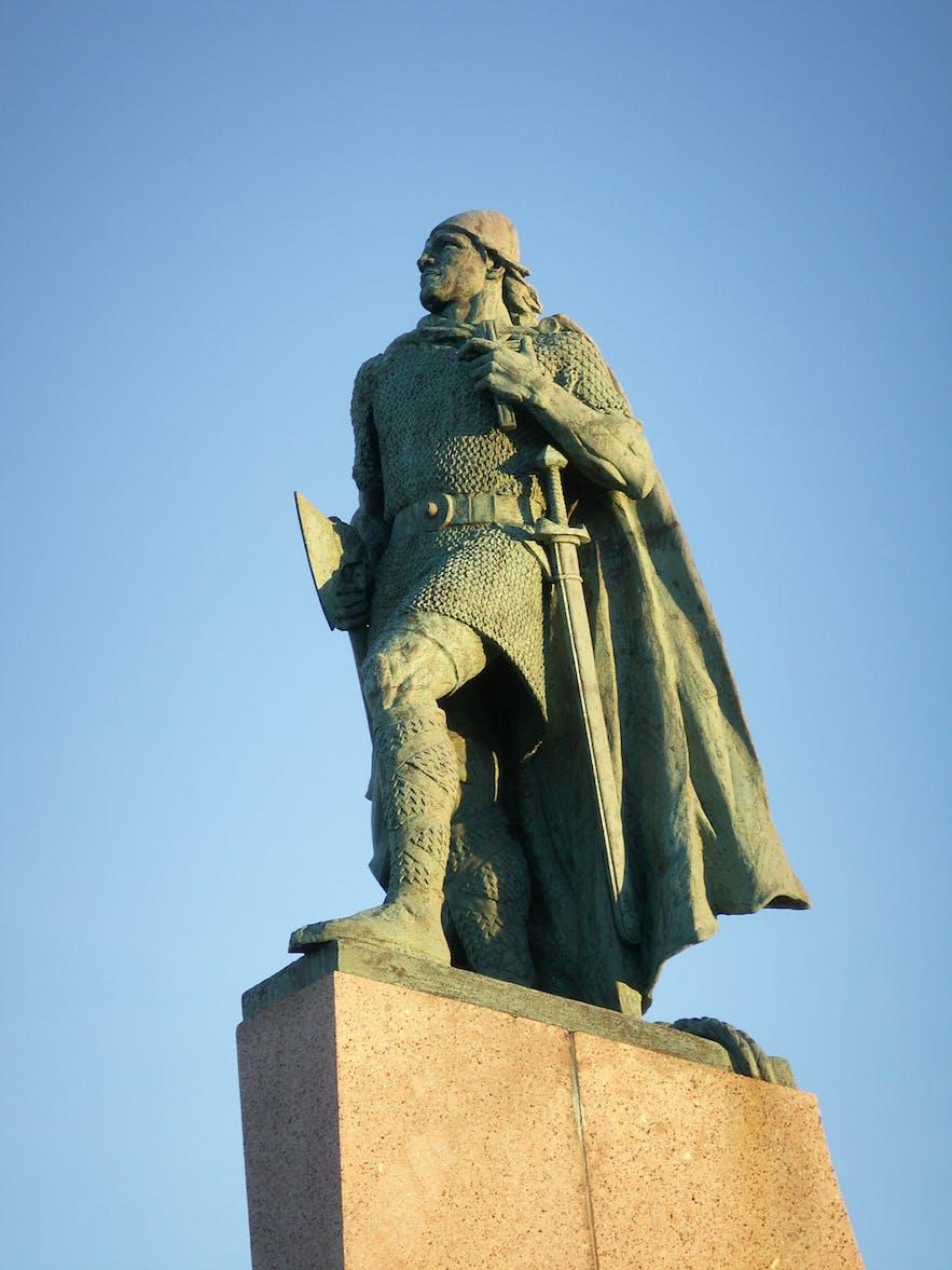 A statue of Leifur Eiriksson outside Hallgrimskirkja church in Reykjavik City.