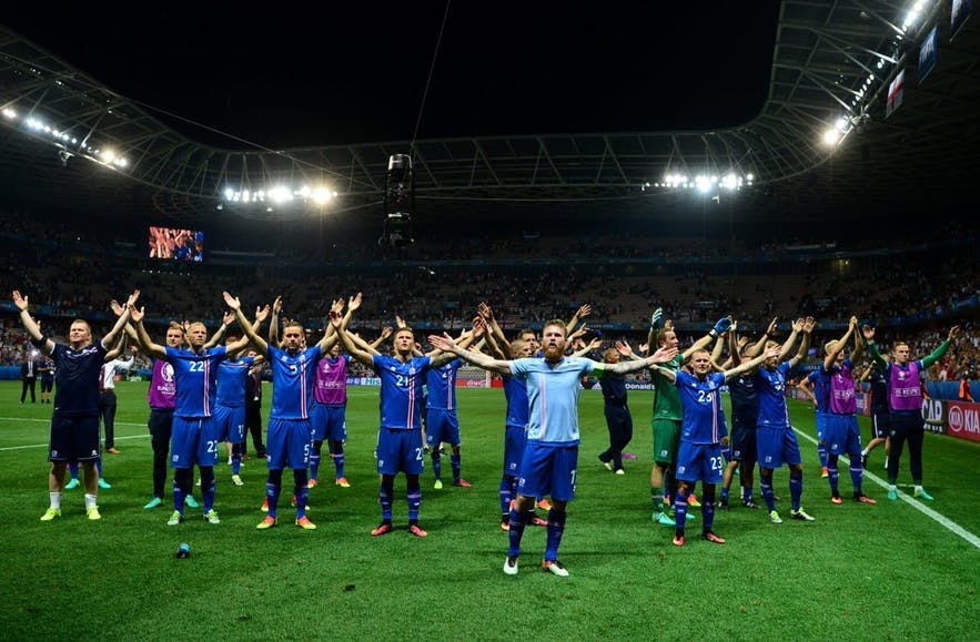 The Icelandic national football team inventing the now-famous viking clap after their victory in 2016.
