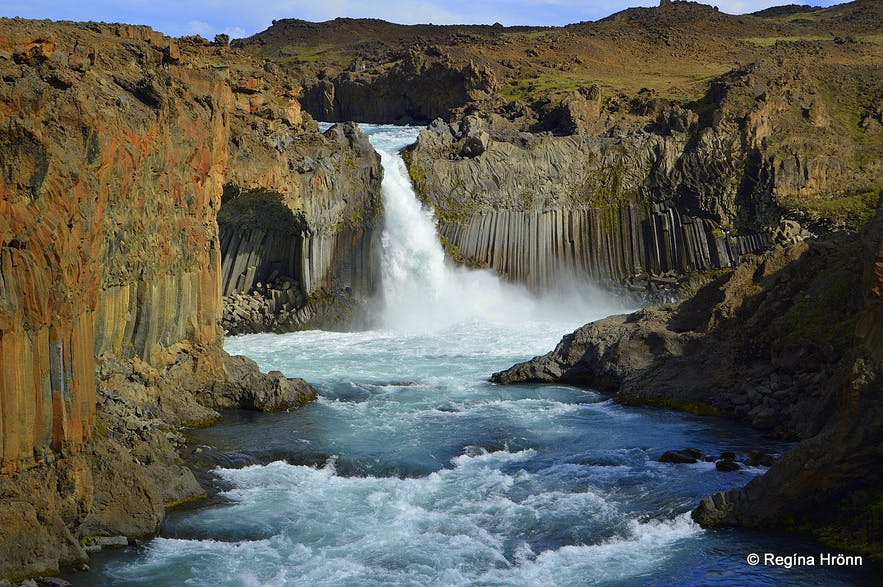 The extraordinary Aldeyjarfoss Waterfall in North-Iceland in beautiful Basalt Column Settings