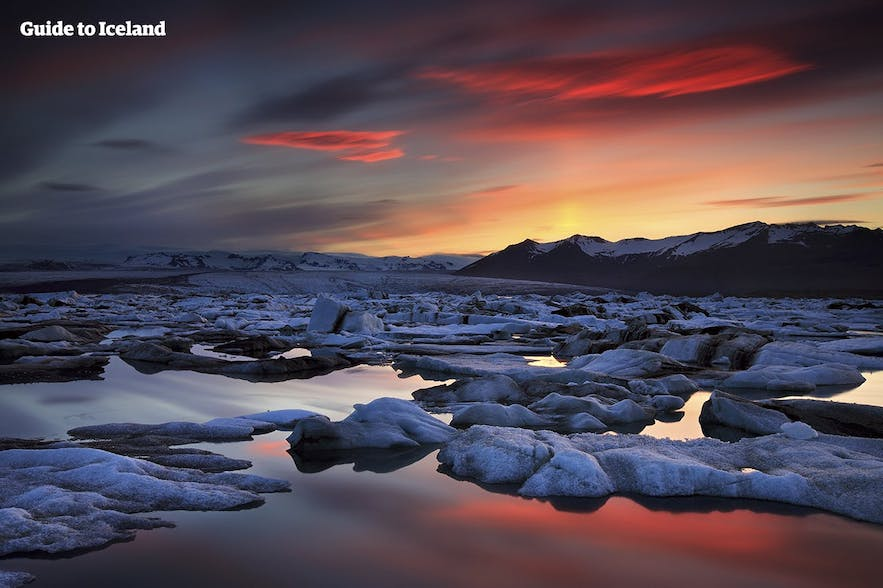 The Jökulsárlón glacier lagoon at twilight; this attraction is accessible throughout the year.