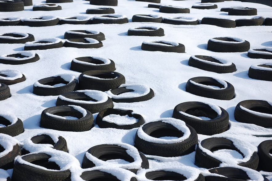 Winter tyres are a necessity when driving in Iceland during the cold winter months.