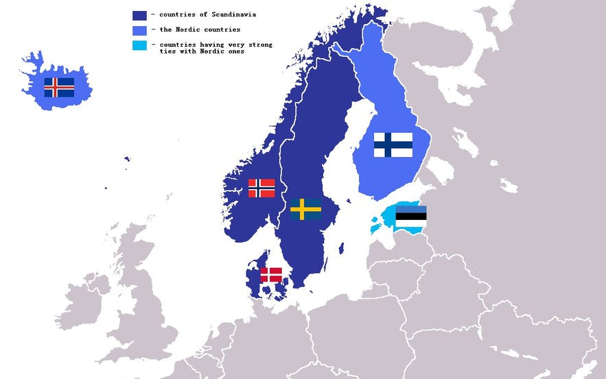 A map showing Nordic counties in dark blue, and those with strong ties in pale blue.