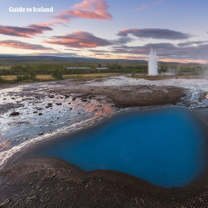 Geyser geothermal area is home to numerous stunning geological features, including Strokkur geyser.