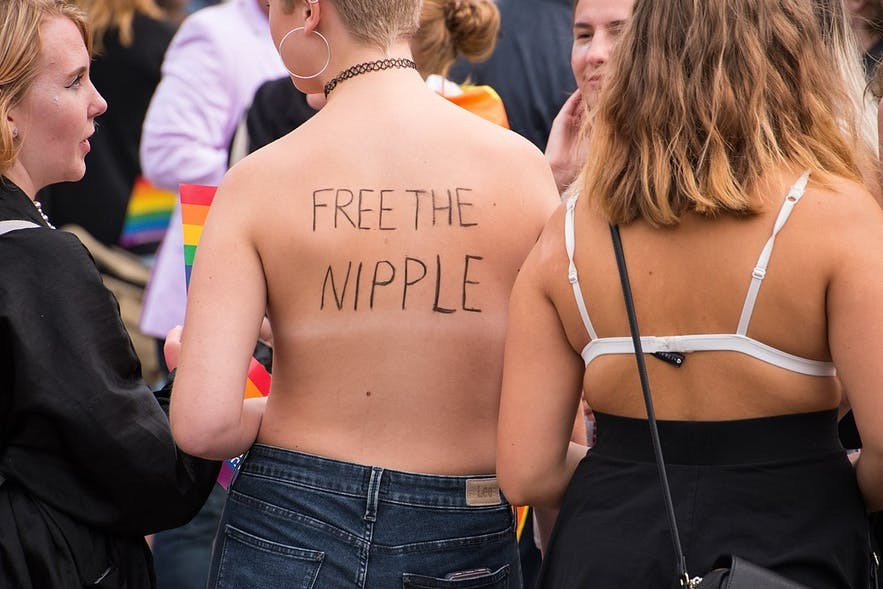 Picture from a Free the Nipple campaign in Sweden