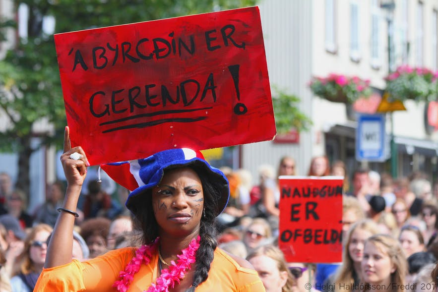 Solidarity at the Slut Walk in Reykjavík.