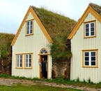 A renovated turf house at Glaumbær heritage museum in North Iceland.