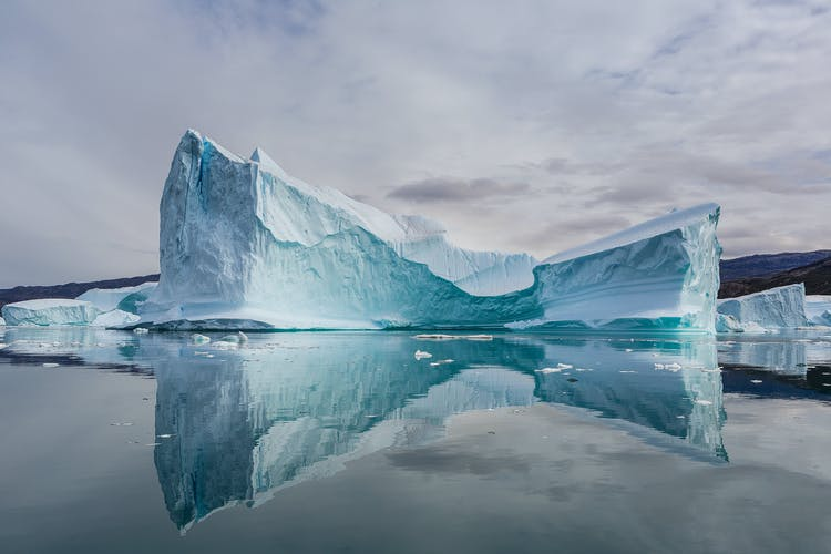 A stunning iceberg formation in the fjords of Scoresby Sound in East Greenland.