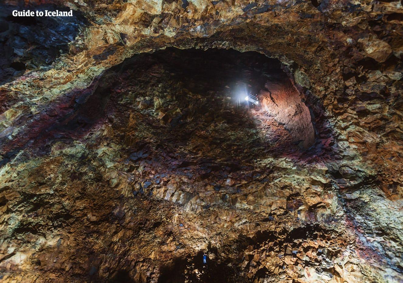 The dazzling colours seen inside of the Volcanic caldera, Þríhnúkagígur, defy the imagination with their deep shades of red, purple and blue.