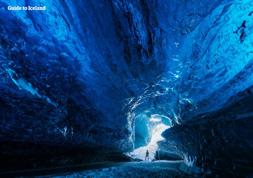 The dazzling interior of an Icelandic ice cave.