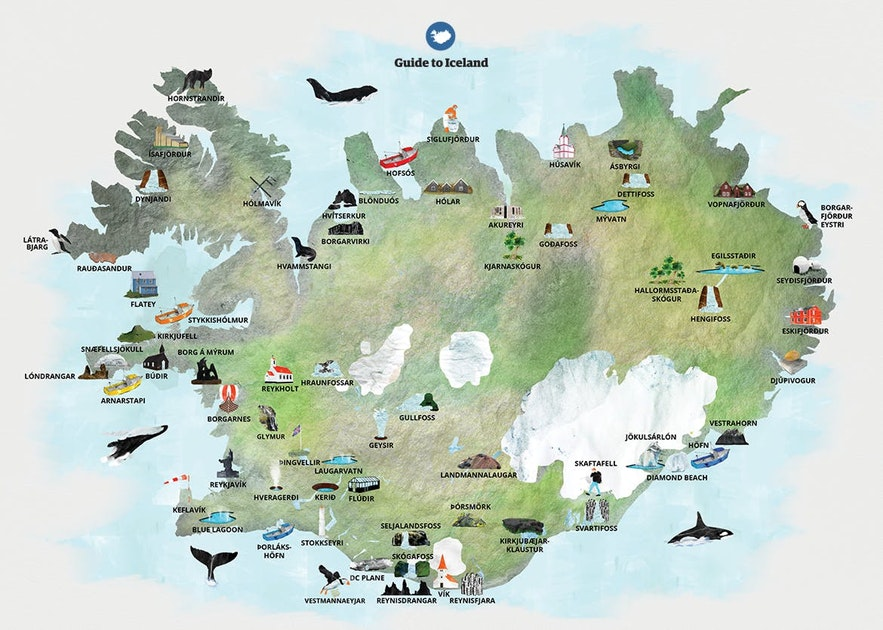 A map showing some of the attractions found near the Ring Road in Iceland.