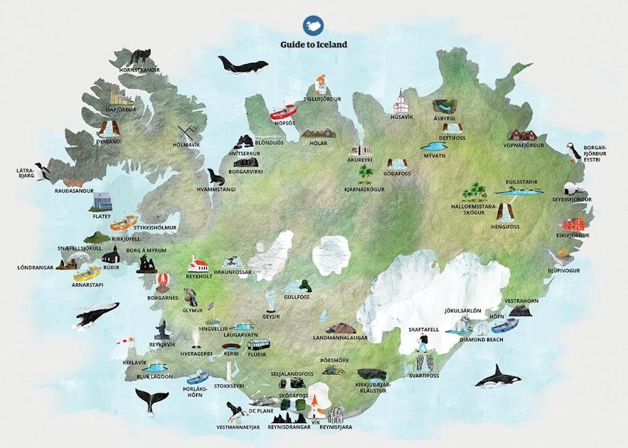 Een kaart met enkele van de bezienswaardigheden in de buurt van de ringweg in IJsland.