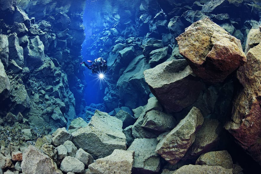 Diving in Silfra allows you to swim between the two continental plates of Eurasia and North America.