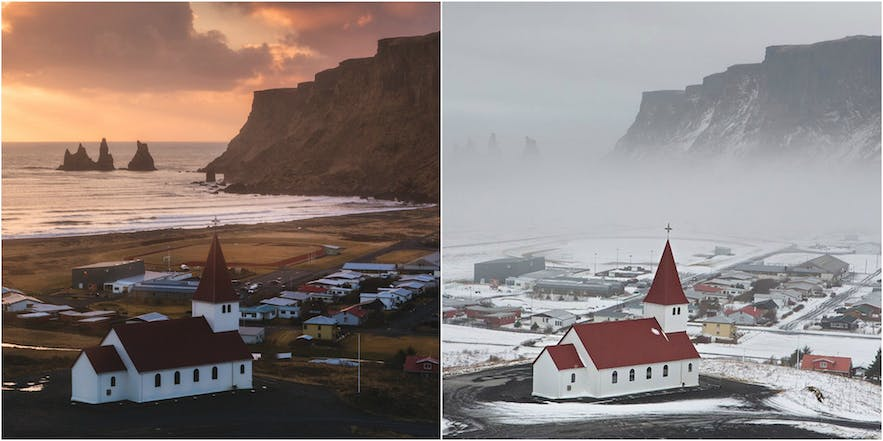 This image shows the seasonal difference of landscapes at Vík.