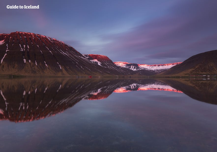The beautiful fjord of Ísafjörður in West Iceland on a still summer's night.