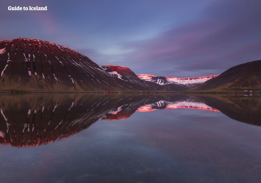 The beautiful fjord of Ísafjörður in West Iceland on a still summer's night.