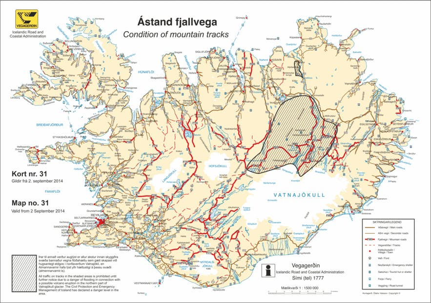 A map displaying in red the various F-Roads around Iceland.