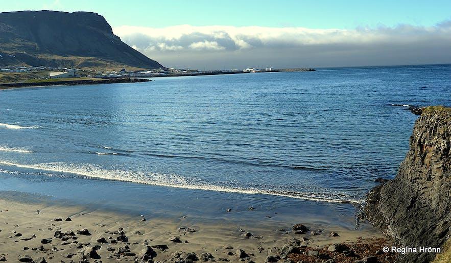 The view of Ólafsvík village from the rock giants