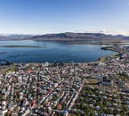 Reykjavik's bright tin roofs appear as a patchwork quilt from the sky.