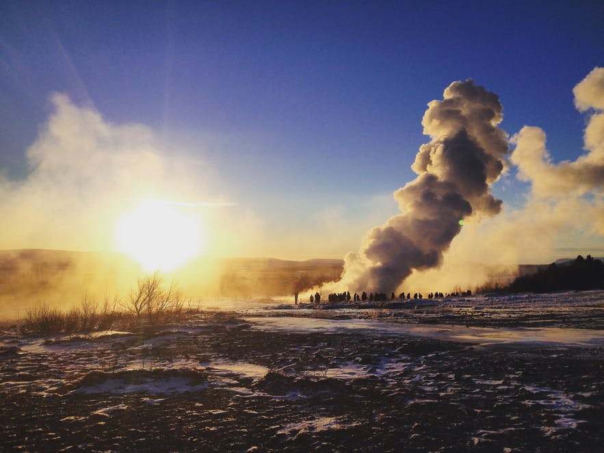 Strokkur erupting in the wintertime