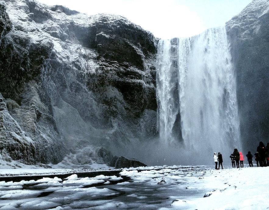 Skógafoss waterfall in the wintertime