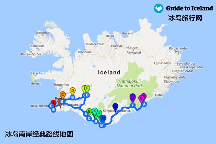 冰岛南岸经典自驾线路地图