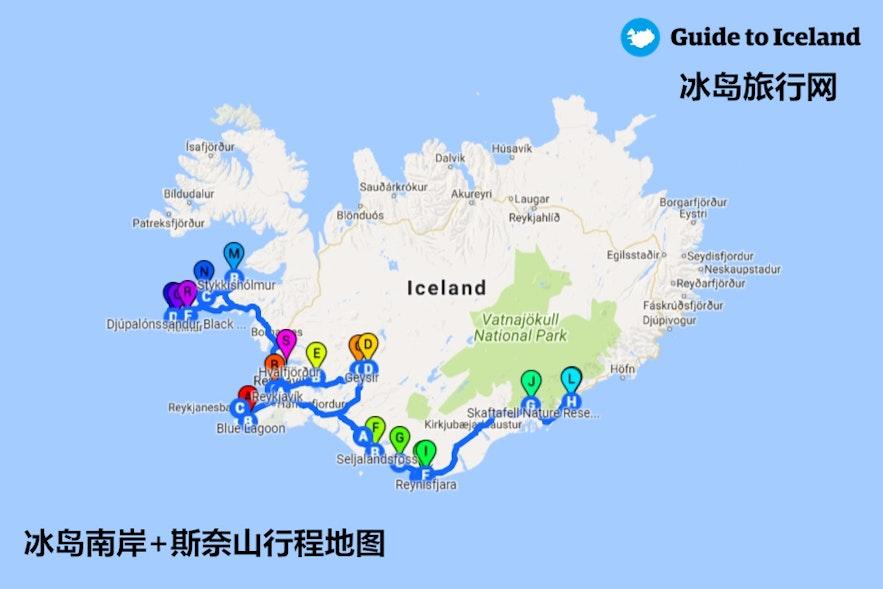 冰岛南岸加斯奈山地图