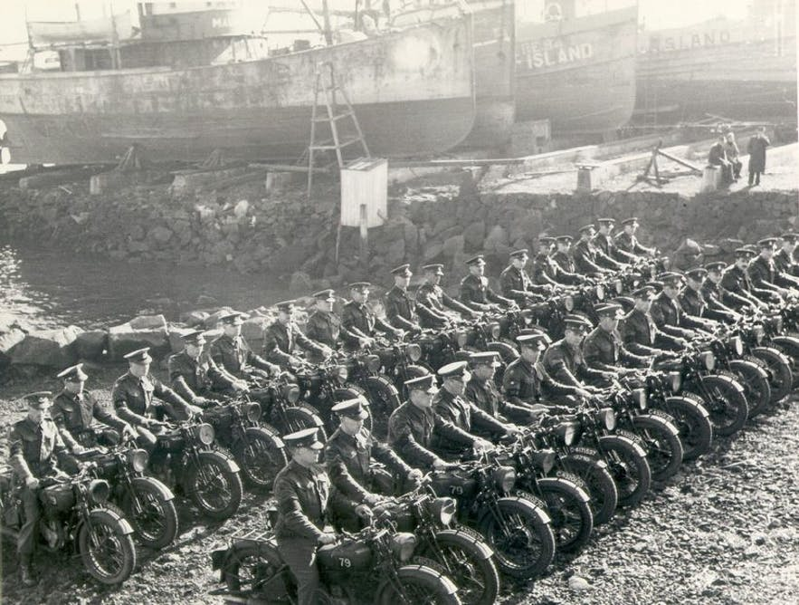 British troops on their motorcycles, just by Old Harbour in Reykjavik.