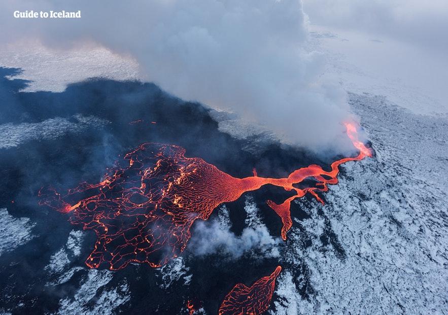 An eruption at Holuhraun lava field.