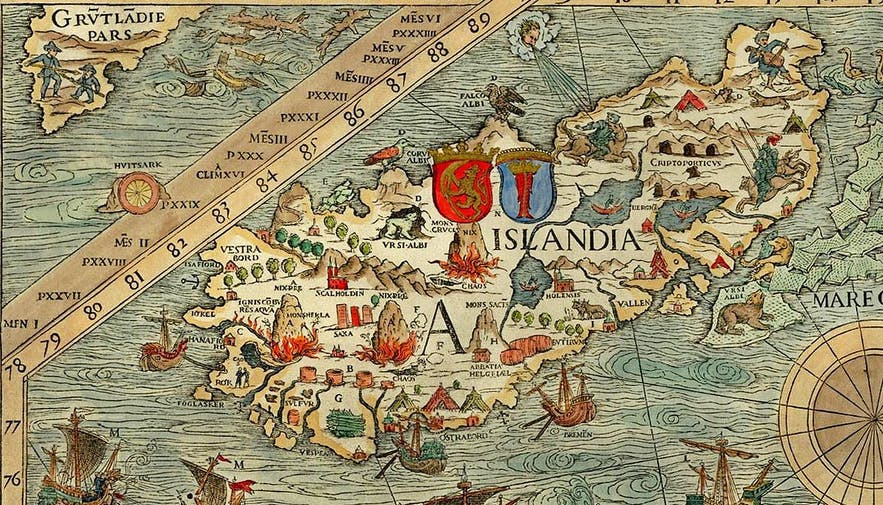 Iceland on the carta marina by Olaus Magnus, 1539.
