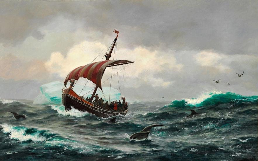 来自挪威的维京人乘船来到冰岛定居